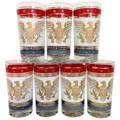 Patriotic 22-Karat Hand-Painted American Bald Eagle High Ball Glasses