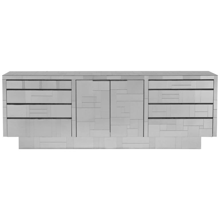 Paul Evans Sideboard Credenza in Desirable All Chrome Cityscape, Signed