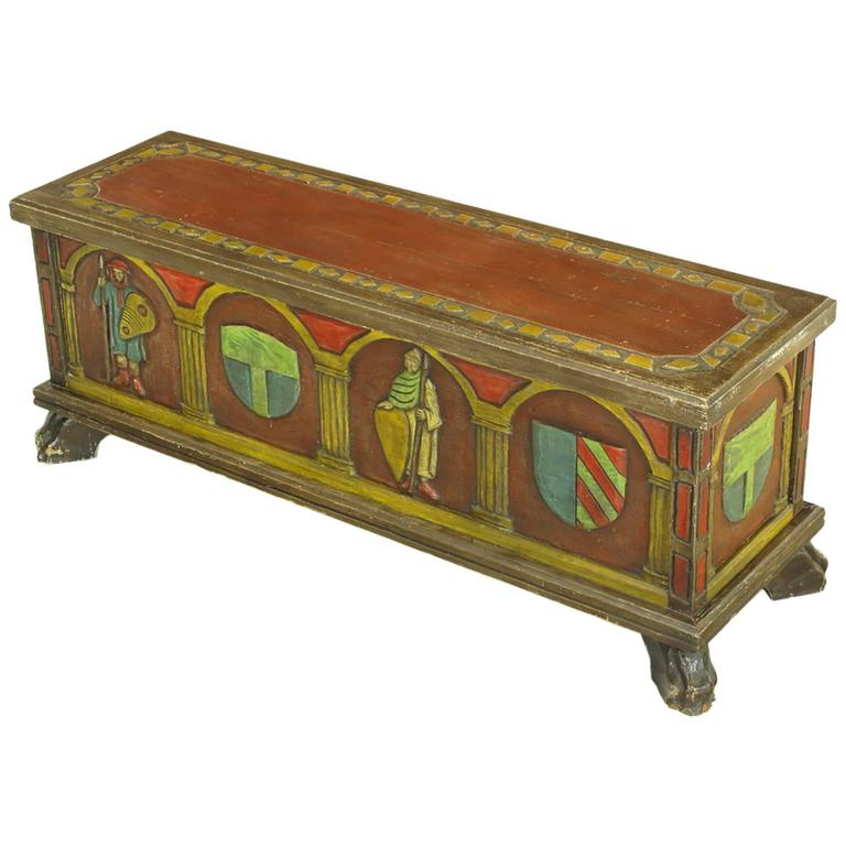 Artes De Mexico Spanish Revival Polychrome Wood Blanket Chest 1