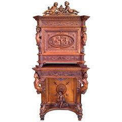 Valentino Panciera Besarel Portfolio or Music Cabinet, Italy Renaissance Revival