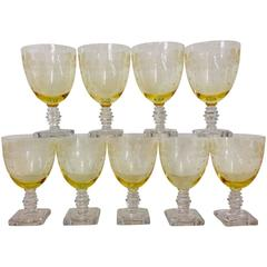 """1930s Fostoria """"New Garland"""" Etched Glass Stems/Goblets S/9"""