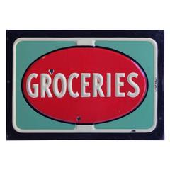 1950s American Embossed Porcelain Groceries Sign