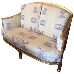 Giltwood and Chinoiserie Style Upholstered Loveseat
