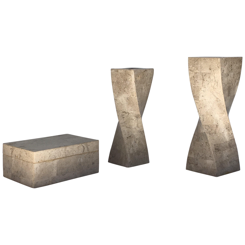 Polished Travertine Box and Candlesticks by Maitland-Smith
