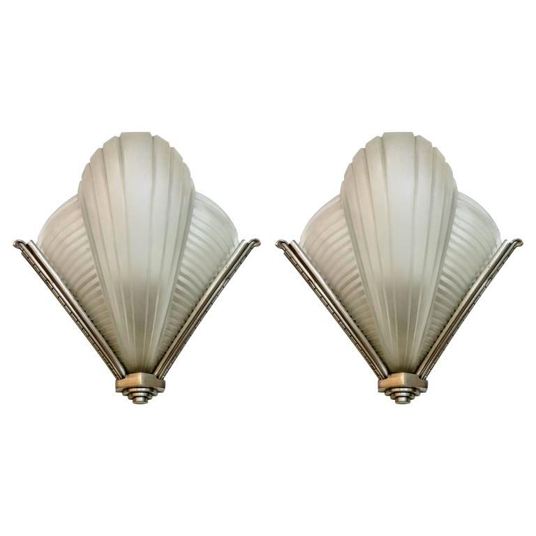 French Art Deco Wall Sconces : Pair of French Art Deco Wall Sconces by Petitot For Sale at 1stdibs