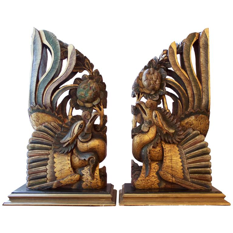 Pair of Antique Chinese Carved Roosters