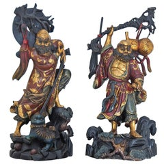 Pair of Chinese Ming-Style Polychrome Carved Wood Male Figures or Sculptures