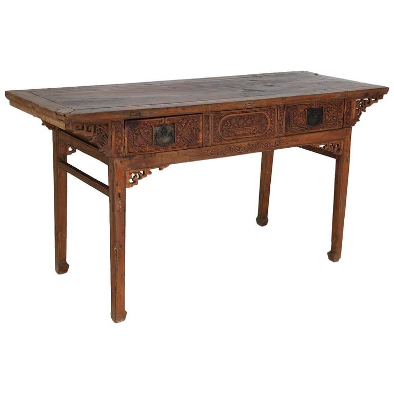 Antique Chinese Altar Table with Fine Carvings