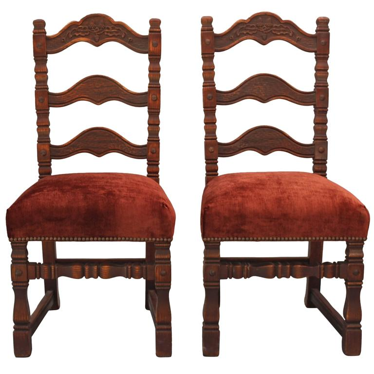 Pair of Carved Spanish Revival Chairs with Acorn Motif For