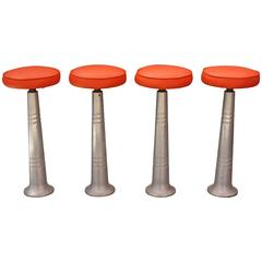 Set of Four Mid-Century Industrial Bar Stools