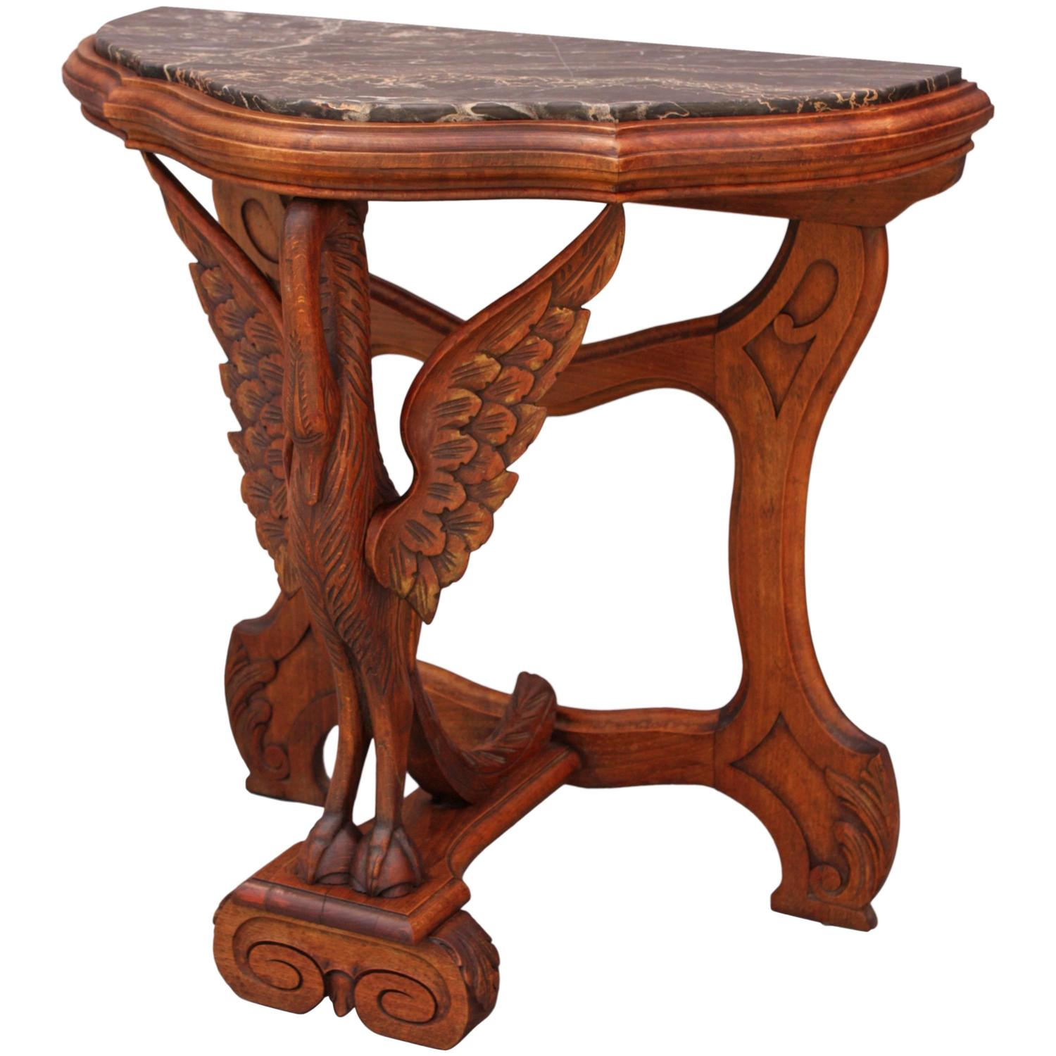 Antique Marble Side Table Reading: Antique Hand-Carved Marble-Top Table With Swan Motif For