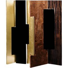 European Boca Do Lobo Gold, Lacquer, Walnut, Ebony Wood Avenue Folding Screen