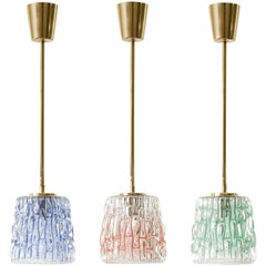 Three Colorful Glass and Brass Pendant Lights by Rupert Nikoll, Austria, 1950s