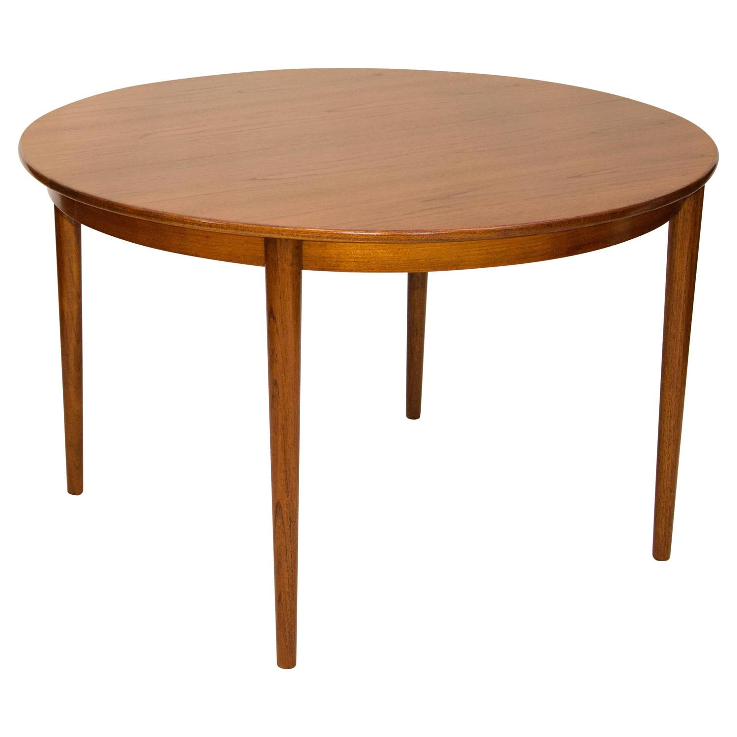 danish round teak dining table two leaves moreddi at 1stdibs