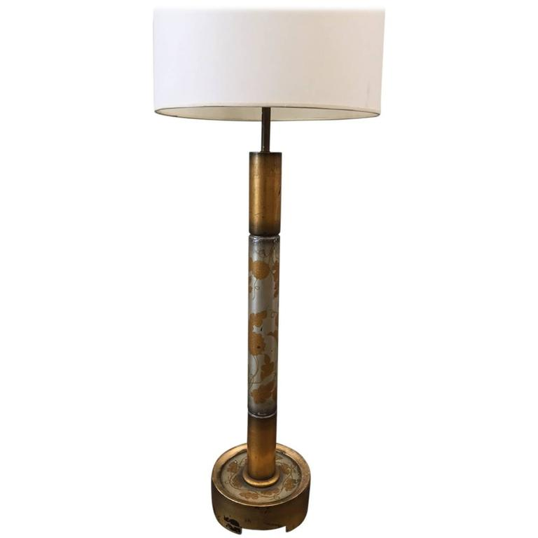 Silver Leaf and Gold Gilt Floor Lamp by James Mont
