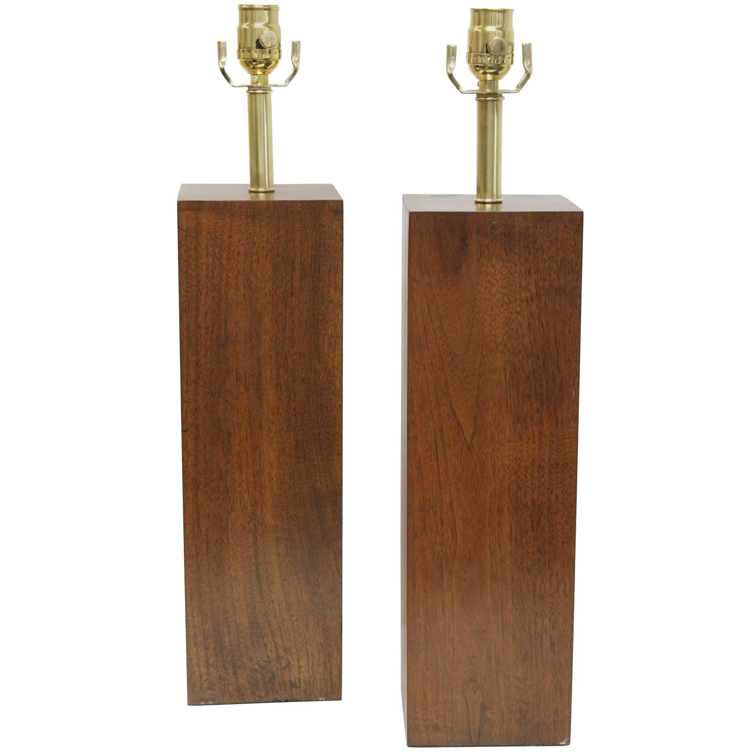 pair of wood block lamps for sale at 1stdibs. Black Bedroom Furniture Sets. Home Design Ideas