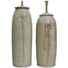 Pair of Hand Thrown Ceramic Lamps