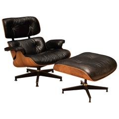 Vintage Charles and Ray Eames Rosewood 670 Lounge Chair and 671 Ottoman