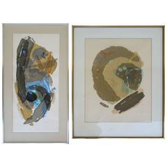 Pair of 1960s Japanese Abstract Modern Art by Rikio Takahashi