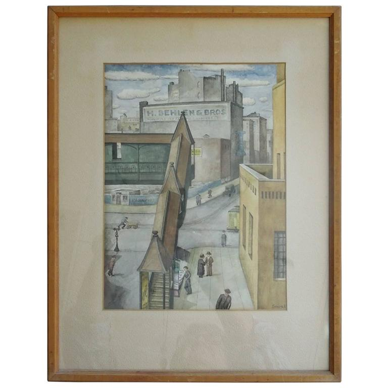Spectacular Orig Watercolor Painting, New York City, 1934 by WPA Artist Sewall