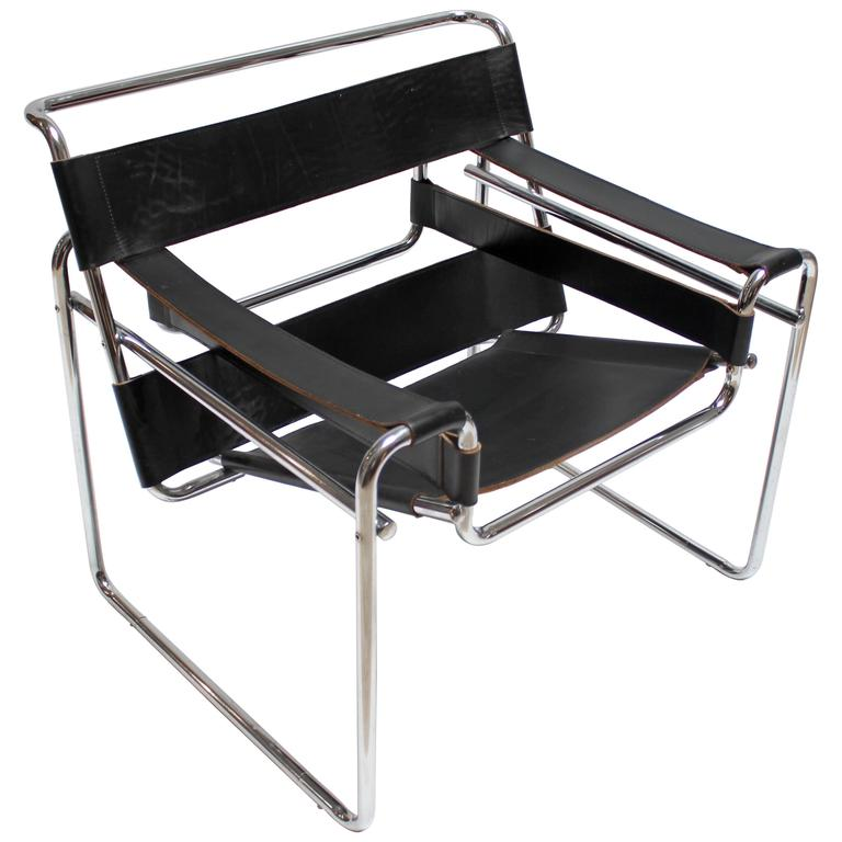 vintage chrome and leather wassily chair by marcel breuer for knoll at 1stdibs. Black Bedroom Furniture Sets. Home Design Ideas