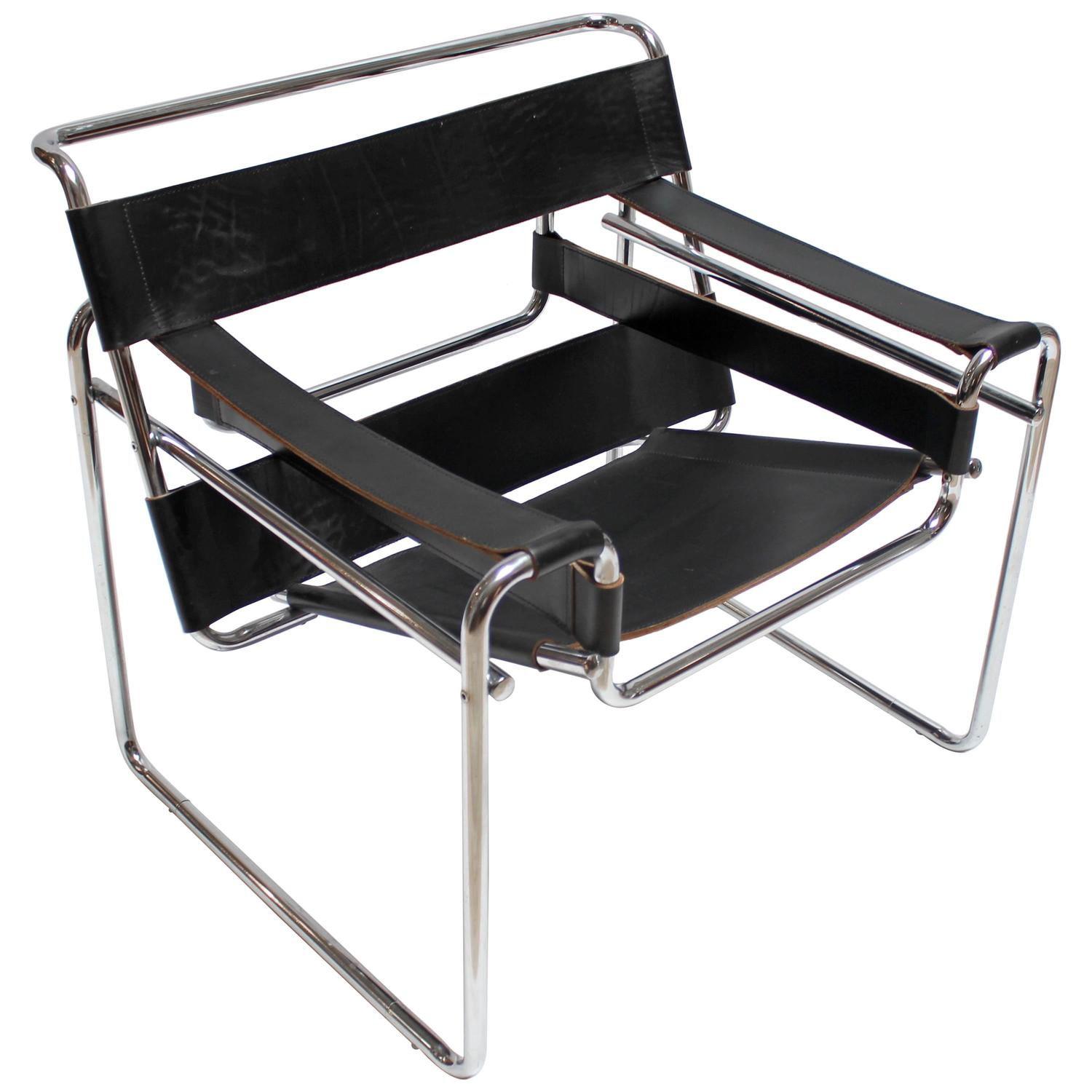 vintage chrome and leather wassily chair by marcel breuer. Black Bedroom Furniture Sets. Home Design Ideas