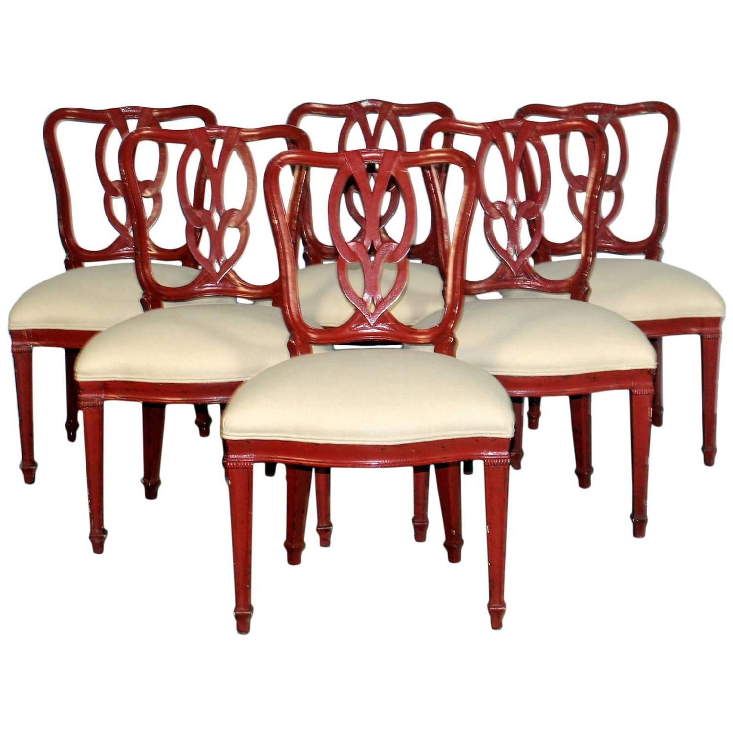 Set of six red dining chairs at 1stdibs for Red dining room chairs