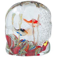 Italian Murano Glass Aquarium Signed by Romano Donà, 1980s
