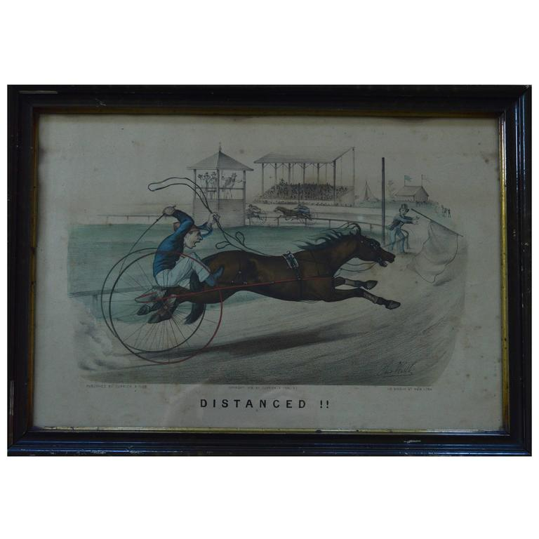 """Currier & Ives """" Distanced """", 1878 Harness Racing Caricature Print"""