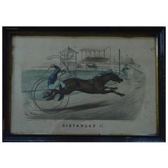 "Currier & Ives "" Distanced "", 1878 Harness Racing Caricature Print"