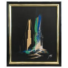 "Mid-Century Modern Original Oil On Canvas ""Cityscape"" Painting-Artist Signed"