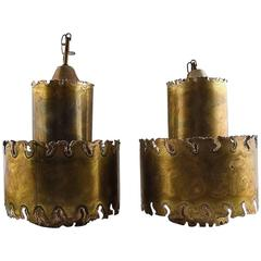 Svend Aage Holm Sorensen, Pair of Ceiling Pendant Lamps in Brass