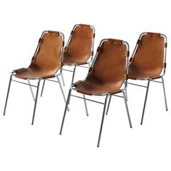 Set of Four 'Les Arcs' Chairs in Cognac Leather