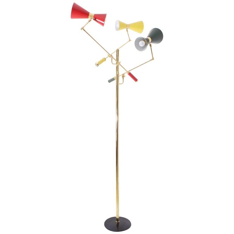 Arredoluce Brass 'Triennale' Floor Lamp For Sale