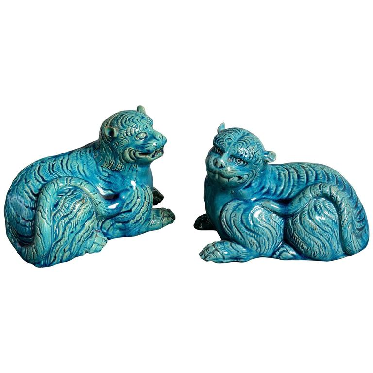 Pair of 19th Century Chinese Turquoise Glazed Porcelain Seated Leopards