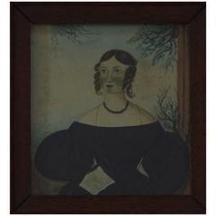 Primitive Portrait of a Girl, English, circa 1840