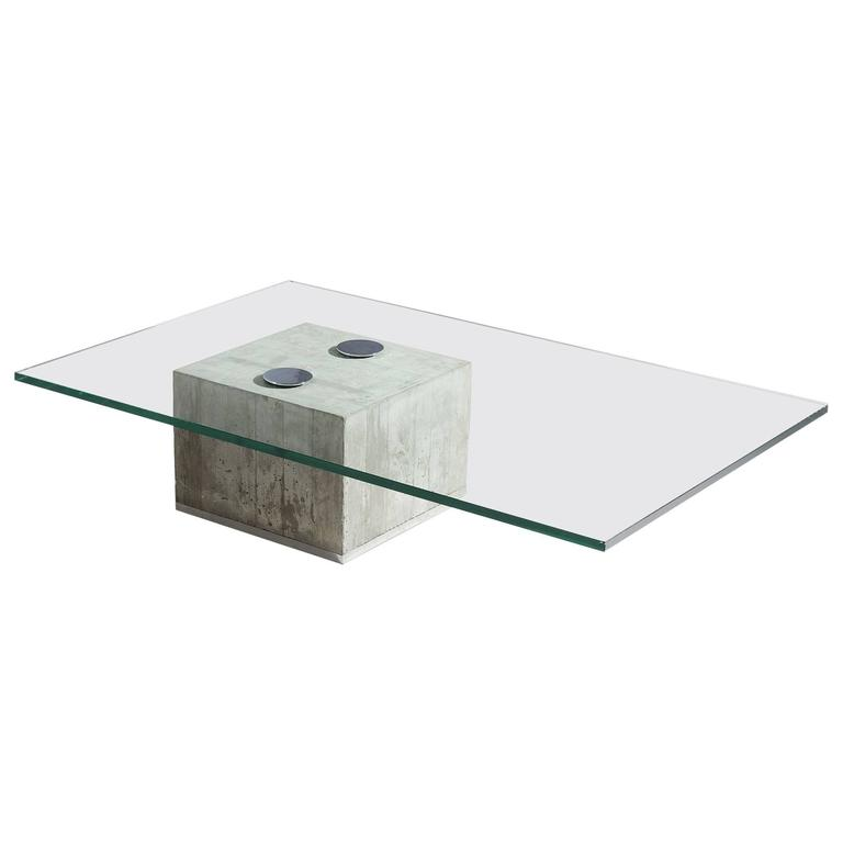 Sergio And Giorgio Saporiti Glass And Concrete Coffee Table For Sale - Concrete and glass coffee table