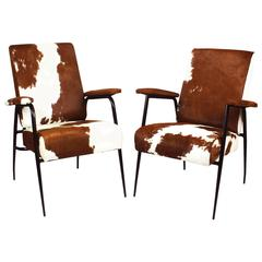 1950´s Pair of Armchairs by Pierre Guariche, iron, colt leather - France