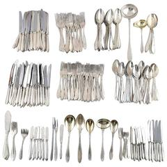 Large and Complete 24 Persons Flatware Service in Plated Silver circa 1930-1940s