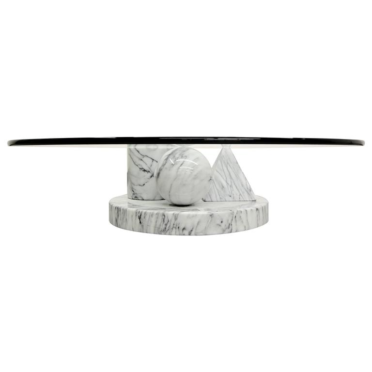 Solid Italian Marble Coffee Table by Massimo Vignelli for Casigliani 1