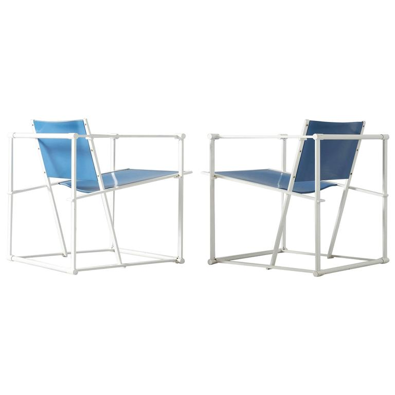 Set of Two White Blue 'Cube' Chairs for UMS Pastoe