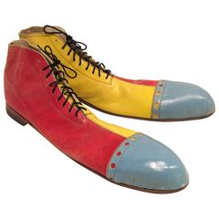 Pair of Long Multicolor Vintage Clown Shoes