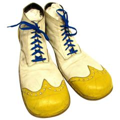 Vintage White and Yellow Clown Shoes