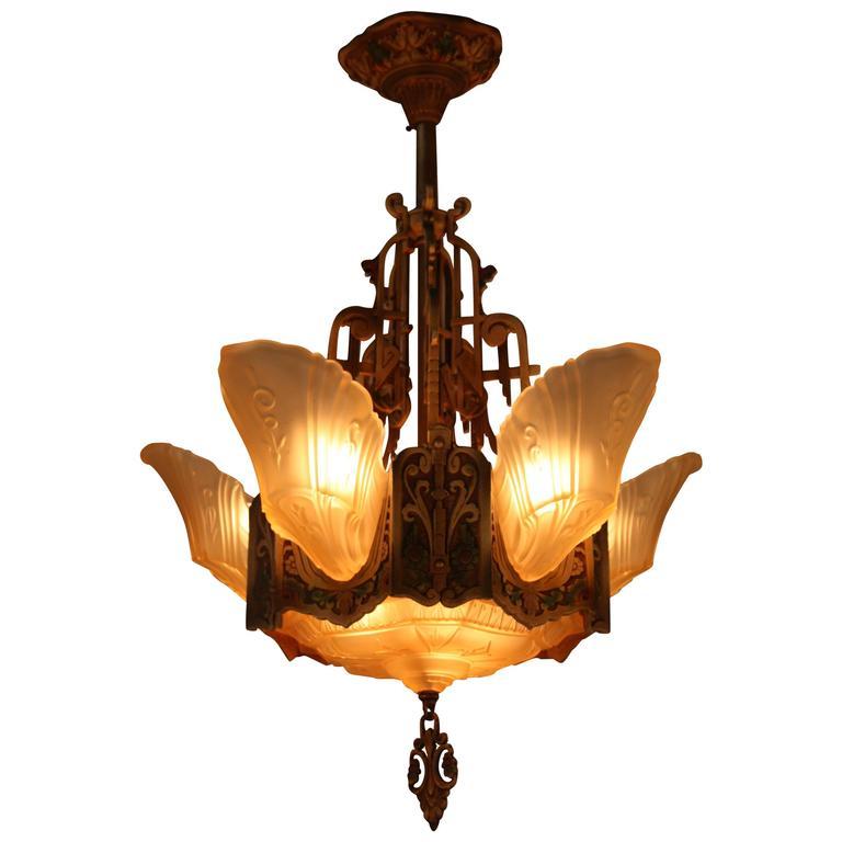 Lightolier Ring Chandelier At 1stdibs: American Art Deco Chandelier By Lightolier At 1stdibs