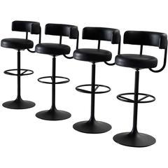 Set of Four Black Swedish Bar Stools