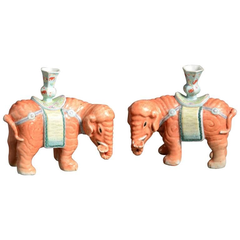 Pair of Porcelain Orange Elephant Candle Holders