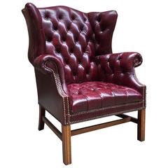 Cordovan Leather Chesterfield Tufted Wing Chair