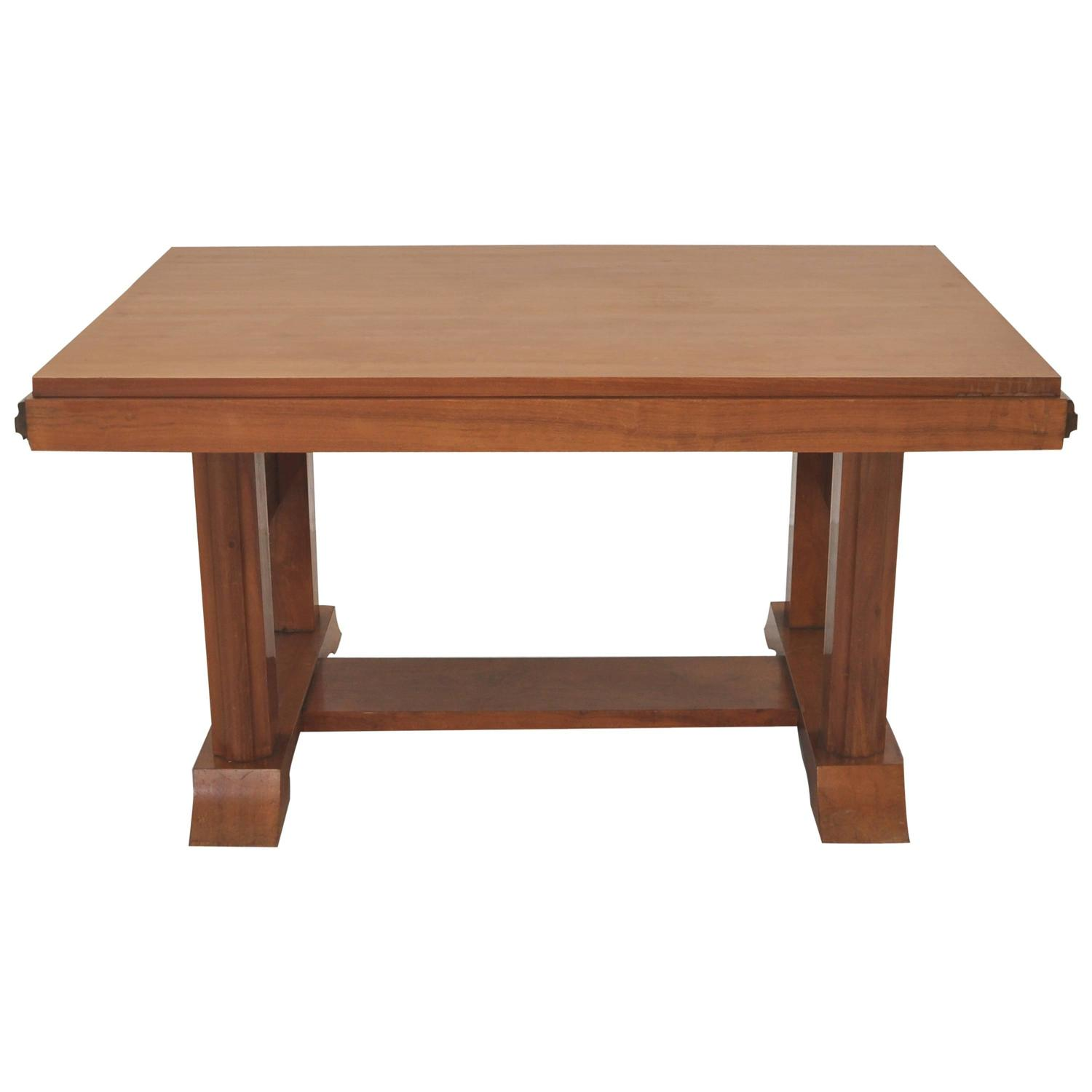 Extendable art deco dining table made of walnut for sale for Artistic dining room tables