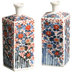19th Century White Imari Porcelain Flasks / Vases Pair with Blue & Red Flowers