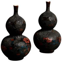 19th Century Pair of Black Cloisonné and Gourd Vases with red and blue flowers